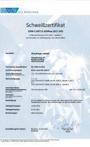 Schwei·zertifikat EN 1090-2 DE