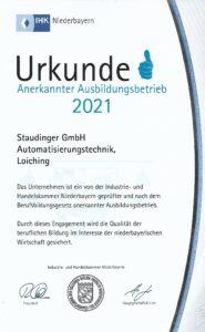 Urkunde Ausbildungsbetrieb IHK 2021