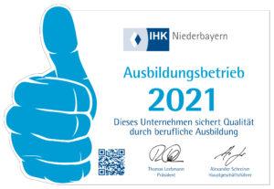 Ausbildungsbetrieb 2021 IHK Niederbayern